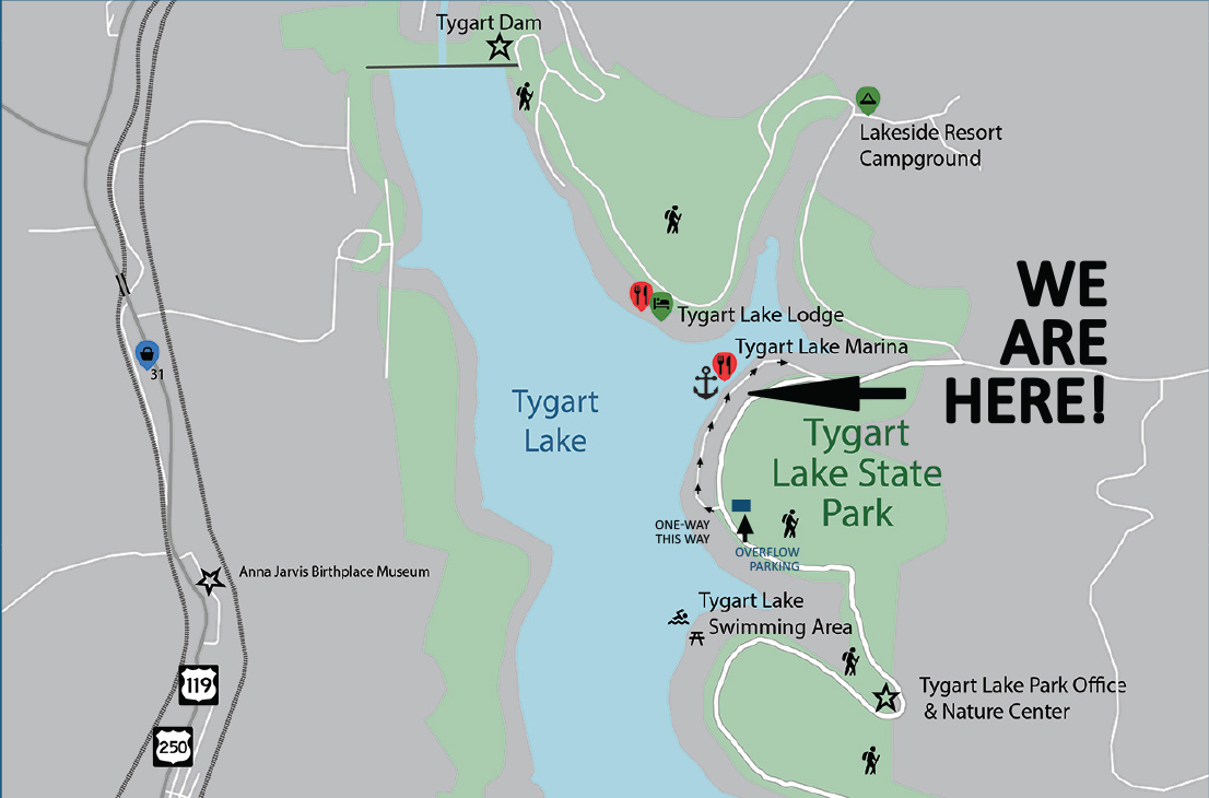 We Are Here Map of Tygart Lake